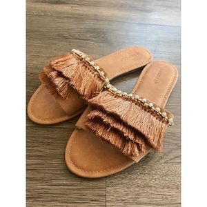 Brown Fringe Slides